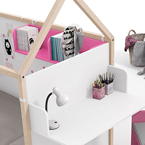 Meubles ROS Ros Lit House with Magnetic Boards Velleda Panels and Office Furniture-158,5x202x102cm, Beech/White  Meubles ROS