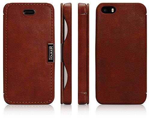 Luxus Tasche für Apple iPhone SE , iPhone 5S und iPhone 5 / Case Außenseite aus Echt-Leder / Innenseite aus Textil / Schutz-Hülle seitlich aufklappbar / ultra-slim Cover / Vintage Look / Farbe: Dunkel-Braun