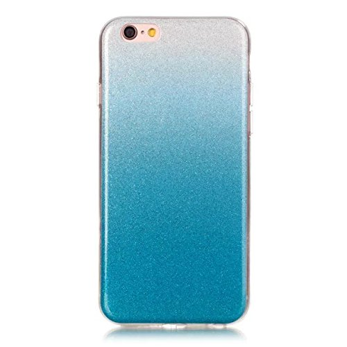 Wkae Case Cover Case Cover Transparent Gradient couleur souple TPU protection arrière Soft Cover pour iPhone 6s plus ( Color : Metallic , Size : IPhone 6s Plus ) Blue