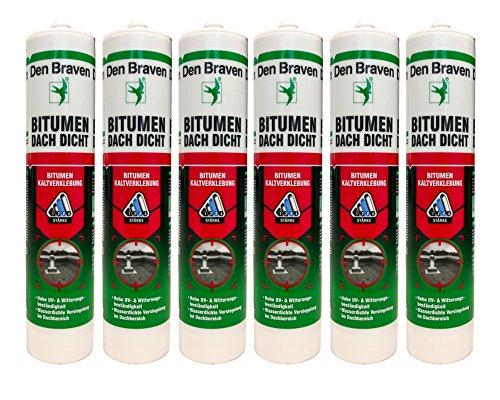 Sparset 6x Den Braven Dachdichtstoff Bitumenkleber zur absolut wasserdichten Versiegelung von Löchern,Rissen uvm. 300ml Kartusche