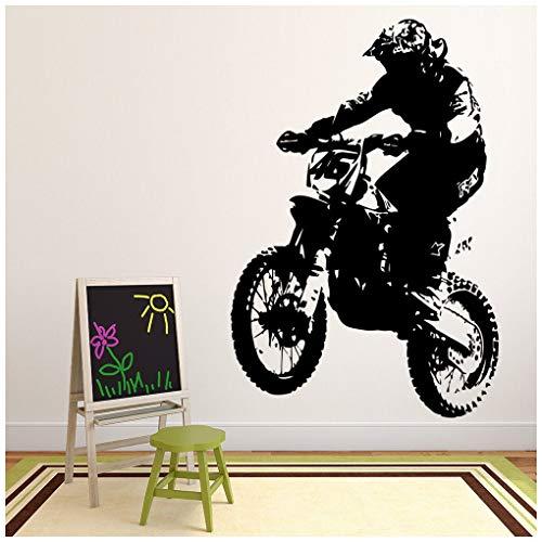 azutura Dirt Bike Fahrer Wandtattoo Motorrad Wand Sticker Jungen Schlafzimmer Haus Dekor verfügbar in 5 Größen und 25 Farben X-Groß Gold Metallic (Dirt Bike Gold)