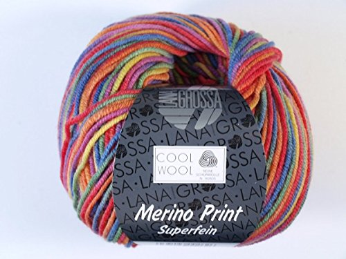 Lana Grossa Cool Wool 2000 Print 703 Lila/Grün/Himbeer/Orange/Gelb/Blau