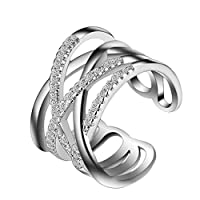 Qinlee Women Ring Hollow Geometric Crystal Ring Diamond Bend Open Rings Wedding Jewelry For Lady Girls Birthday Gift(Silver)