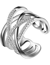 4084f002b68d Hosaire Anillo de Plata de con Estilo y Elegante Mujeres de Apertura  Metal-Ajustable (