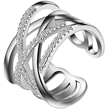 1 St/ück DaoRier Kreative Mode Doppelschicht /Öffnung Krone Form Ring Schmuck Zubeh/ör Legierung Ringe f/ür Damen Ringe f/ür Damen silber mit Strasssteine Geschenk