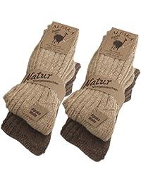 BRUBAKER Chaussettes tricotées en Alpaga - Lot de 4 Paires - 100% Laine d'alpaga - Très épaisses et chaudes - Unisexe