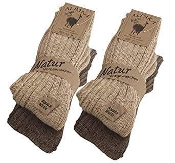 BRUBAKER Unisex Alpaca Wool Socks for the Cold Winter Days - Browns - EU 35-38 / UK 2-5 - Pack of 4