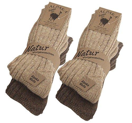 BRUBAKER Chaussettes tricotées en Alpaga - Lot de 4 Paires - 100% Laine d'alpaga - Unisexe - 39-42 - Brun Brubaker