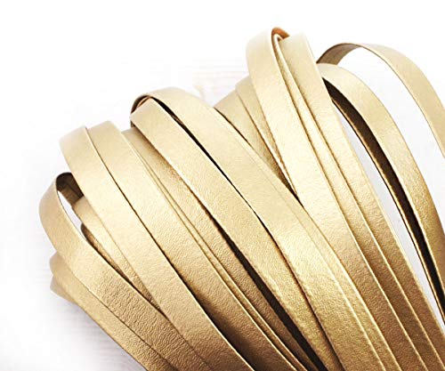 2yrd 1,8 m Matt Gold-PU-Faux-Leder Schnur Flach Leder-Schnur-Faux Pu-Lace Friesen String Band Rindsleder Armband Halskette Handwerk Vegan 10mm -