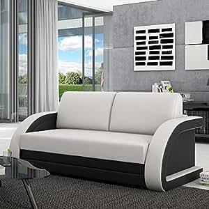 schlafsofa 120 cm aus kunstleder wei schwarz runde lehnen ausziehbar. Black Bedroom Furniture Sets. Home Design Ideas