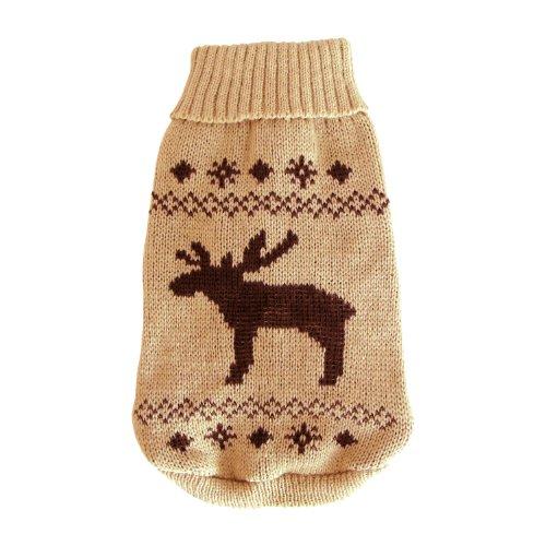 Wolters Strickpullover Elch Hunde Pullover Hundbekleidung beige/braun XS – XL - 2