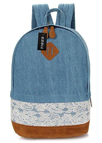 Tibes Zaino Impermeabile Zaino Ragazza Backpack Borsello Donna Schoolbag Profondo blu