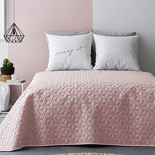 JEMIDI Tagesdecke 220cm x 200cm Bettüberwurf Bettüberwurf Sofaüberwurf Bett Decke gesteppt Tages Tagesdecken Betthusse Altrose/Grau