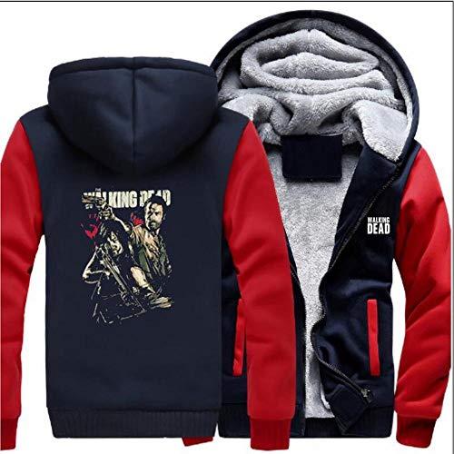 ENTHUSIAST Unisex Pullover Eindickung Plus Samt Zipper Strickjacke Mit Kapuze Film Peripherie The Walking Dead Darryl Drucken Sweatshirt Langarm B-S