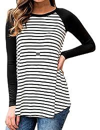 Longra Womens Tops T-Shirt - Casual Panel Rainbow Striped Print Tunic Tops O-Neck Short Sleeve T-Shirts Blouses E4Ds2YhH