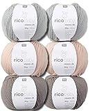 Woll-Set Babywolle Rico Baby Classic 6x50g #5, weiche Wolle zum Stricken und Häkeln