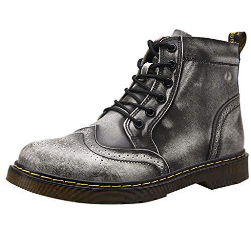 ODRD Schuhe Herren Retro Schuhe mit Niedrigem Absatz Mode Herren mit runden Kopf rutschfesten Schnürern Wanderstiefel Hallenschuhe Worker Boots Laufschuhe Sportschuhe - Sneaker Kopf Kostüm