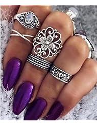 reixus (TM) moda joya de la boda 5pcs/set anillo vintage tallada hueca de sol Star Flower–Funda simple, diseño Opal X geométrico encanto anillo para las mujeres