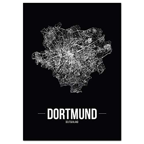 JUNIWORDS Stadtposter - Wähle Deine Stadt - Dortmund - 21 x 30 cm - Schrift B - Schwarz