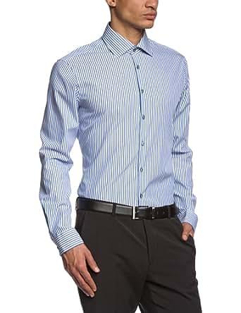 Jacques Britt Herren Slim Fit Businesshemd BRAD MIX 174040, Gr. Large (Herstellergröße: 42/L), Blau