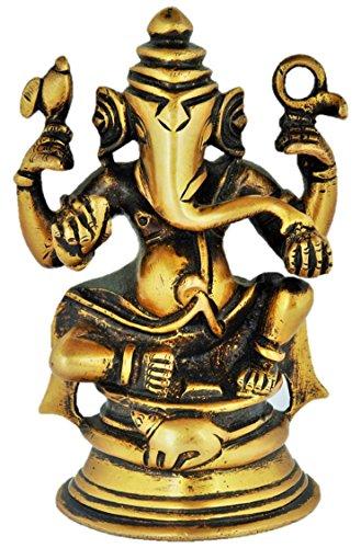 Aadi Metal Artefacts Brass Ganesh Idol; Brass Ganesha idol; Brass Gift item for Vastu pujan ; Brass Gift item for House warming ;Brass Gift item in Marriages (8 cm x 8 cm x 12 cm, Bronze)