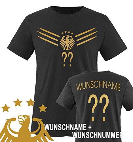 Comedy Shirts - WM 2014 - DEUTSCHLAND - DELUXE F1-VH-Wunsch - Kinder T-Shirt - Schwarz / Gold Gr. 110-116