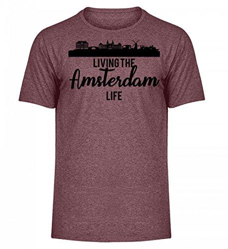 Gift Tshirt (ClassicLounge Hochwertiges Herren Melange Shirt - Amsterdam Netherlands Niederlande Windmühle Geschenk Gift Reisen Tourist)