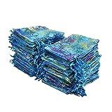 Golvery 100 pezzi Coralline modello sacchetti regalo in organza, con coulisse sacchetti sacchetti di gioielli, caramelle sacchetto di cioccolato della festa di nozze favor Gift bag, 15 x 10 cm