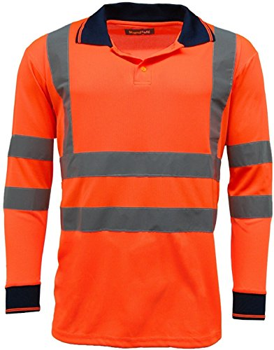 Herren Polo Shirts HI VIS High Viz Sichtbarkeit Lange Ärmel Sicherheit Workwear Shirt Orange