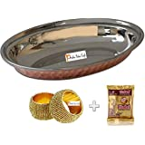 """Prisha India Craft ® Oval Steel Copper Salad Plate - Copper Serving Salad Plates - Copper Serveware Dishes plates Size : 8.0"""" X 6.0"""" - Diwali Gift with Two (2) Napkin Ring and Copper Cleaning Powder"""