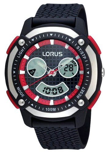 Lorus Gents Wristwatch, 100m Water Resistance, Black and Red, R2343DX9