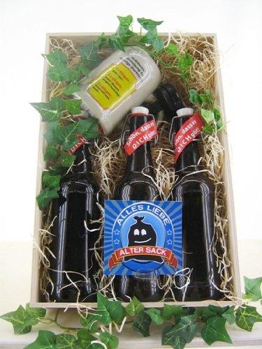 Bierkiste aus Holz Spruch alter Sack