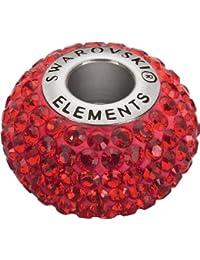 Grand Trou Perles de Verre a enfiler de Swarovski Elements 'BeCharmed Pave' 14.0mm (Indian Siam, Acier affiné), 12 Pièces