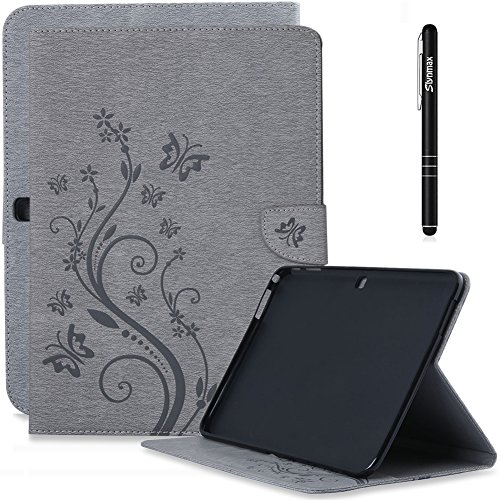 Slynmax Blume Schmetterling Tasche Schutzhülle für Kompatibel mit Samsung Galaxy Tab 4 10.1 T530 T535 Hülle Grau Smart Wallet Case Klapphülle Lederhülle Rückseite Ständer Kartenfächer Magnetverschluss
