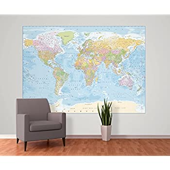 World map wallpaper mural amazon diy tools 1 wall political world map feature wallpaper mural wood blue 158 x 232 m gumiabroncs Gallery