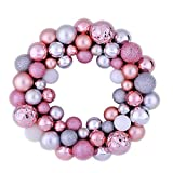 Valery Madelyn 35cm Knife Christmas Wreath Corona dell'albero di Natale con 50 Pezzi Rosa Argento Bianco Plastic Christmas Bauble Decorazione Natalizia Corona Christmas Decorations