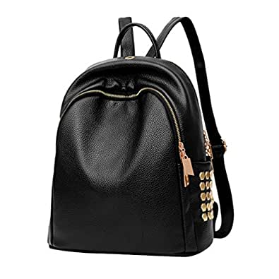 yaancun damen rucksack weiches pu leder campus uni schultasche mit backpack schwarz. Black Bedroom Furniture Sets. Home Design Ideas
