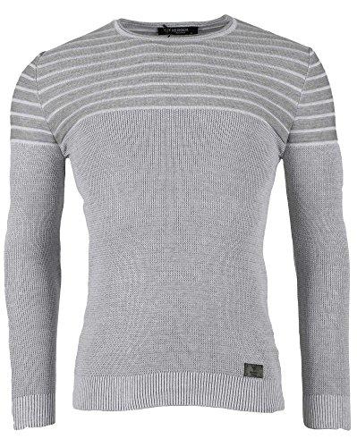 BLZ jeans - Pull moulant uni gris clair Blanc