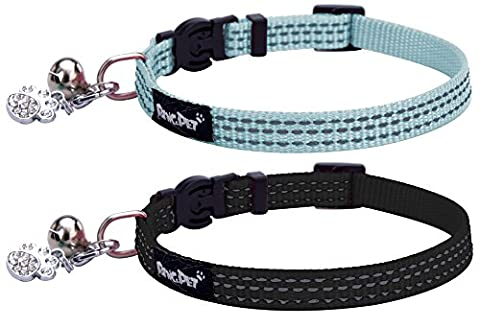 PUPTECK 2pcs/set Safety Nylon Reflective Cat Collar Breakaway Adjustable Cats Collars with Bell and Bling Paw Charm, Light Blue &