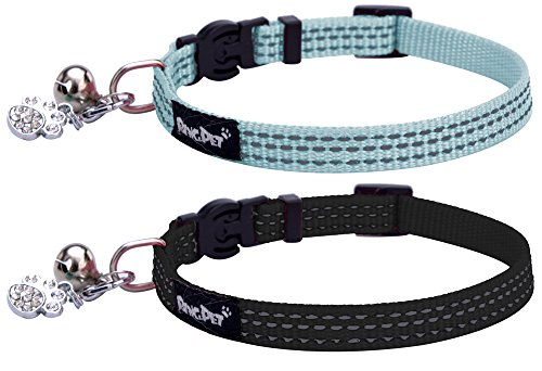 PUPTECK 2pcs/set Safety Nylon Reflective Cat Collar Breakaway Adjustable Cats Collars with Bell and Bling Paw Charm, Light Blue & Black