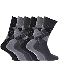 Mens Pattern Cotton Blend Argyle Socks (Pack Of 6)