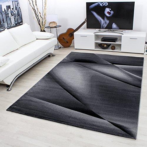 Teppiche modern designer für Wohnzimmer, Esszimmer oder Schlafzimmer,kurzflor Wellenteppich meliert mit modernen Farben wie Schwarz Grau und Weiss_6590, Maße:80x150 cm