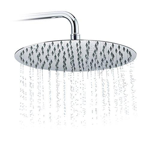 Relaxdays Duschkopf Regendusche rund, 300 mm, Edelstahl, Spiegeleffekt, Hochglanz, rain shower 1/2 Zoll, silber -