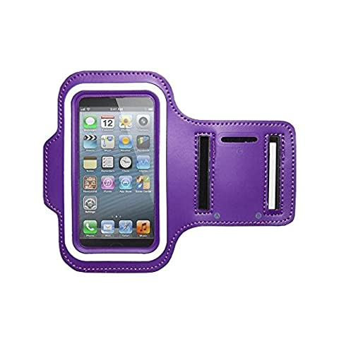 CellularOutfitter Samsung Galaxy S4 Fitness Armband - Neoprene Material, w/ Special Pocket for Keys - Purple