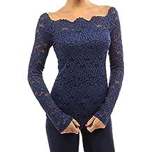FANTIGO Mujeres Elegante Camisetas Manga Larga Blusas de Encaje Flores Lace Camisas Slim Fit Otoño T