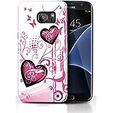 Etui de créateur pour Samsung Galaxy S7 EDGE - Etui / Coque / Housse de protection blanc / rose en Silicone / Gel / TPU avec motif coeur roses