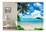 AnazoZ Duschvorhang Anti-Schimmel, Wasserdicht Vorhänge an Badewanne Antibakteriell, Bad Vorhang für Dusche 3D Kokospalme Strand, 100% PEVA, inkl. 12 Duschvorhangringen 150 x 200 cm