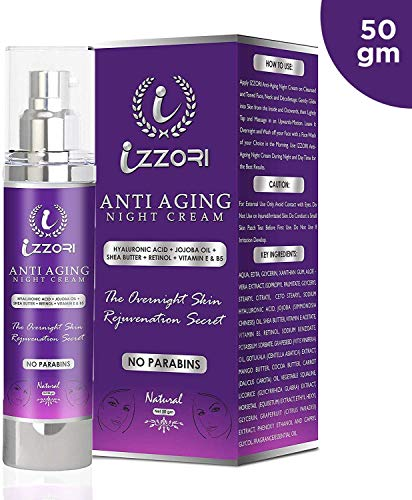 IZZORI PURE ANTI AGING DAY and NIGHT CREAM with HYALURONIC ACID, RETINOL, JOJOBA OIL, SHEABUTTER, VITAMIN E and B5 for FINE LINES, WRINKLES, DARK SPOTS, SKIN TIGHTENING & FIRMNESS with ADVANCED SKIN REJUNEVATION & GLOWING SKIN (50 GM).