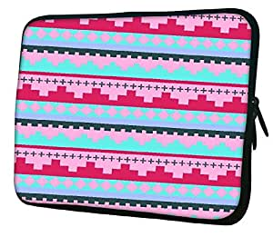 "Snoogg Digit Aztec Pink 10"" 10.5"" 10.6"" inch Laptop Notebook Slipcase Sleeve Soft Case Carrying Case for Macbook Pro Acer Asus Dell Hp Sony Toshiba"
