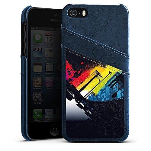 Apple iPhone 4 Housse Étui Silicone Coque Protection Rues Urban Nuit Étui en cuir bleu marine